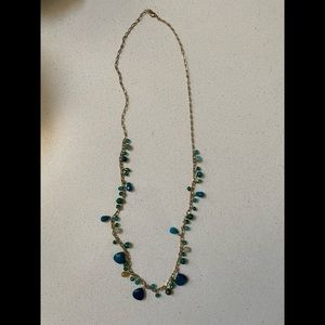 Long Necklace Gold and Blue Stones